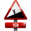 Yen currency price falling warning sign — Stock Photo #70404151