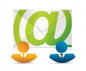 Email correspondence teamwork — Stok fotoğraf