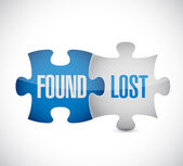 Found and lost puzzle pieces sign illustration — Stock Photo