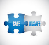 Safe and unsafe puzzle pieces sign — Stock Photo