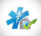 Real estate home approve medical symbol — Stock Photo
