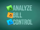 Analyze bill control post board sign illustration — Stock Photo