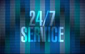 24-7 service binary sign concept illustration — Stock Photo