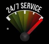 24-7 service speedometer sign concept — Stock Photo