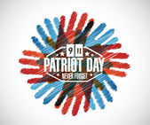 Never forget. hands patriot day sign — Stock Photo