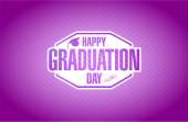 Happy graduation day purple card sign — Stock Photo