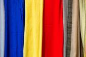 Colored cloths and silks from Morocco — Stock Photo
