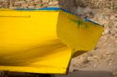 Detail of Colored fishing boat on the beach of Sidi Kaouki — Stock Photo