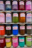 Colorful, natural and mineral colours in jars — Stock fotografie