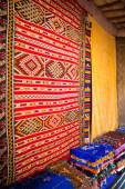 Traditional oriental fabrics in Ouarzazate, Morocco — Stock Photo