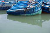 Blue fishing boats in the harbor of Essaouira — Stok fotoğraf