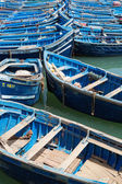 Blue fishing boats in the harbor of Essaouira — Stock Photo