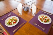 Tasty Moroccan salads served on table — Stockfoto