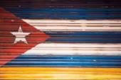 Cuban flag painted on a door, Banos Ecuador — Stock Photo