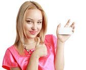 Kobieta trzyma karty — Zdjęcie stockowe