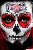 Maquiagem halloween em crânio de açúcar — Fotografia Stock