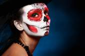 Halloween make up sugar skull — Stock Photo