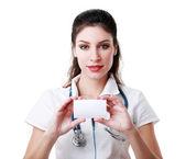 Tarjeta de tenencia doctor — Foto de Stock