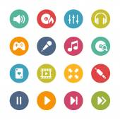 Media center Icons -- Fresh Colors Series — Stock Vector