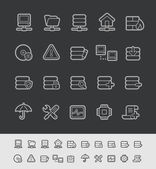 Server Icons -- Black Line Series — 图库矢量图片