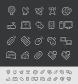 Wireless Communications Icons -- Black Line Series — Stock Vector