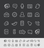 Sociale communicatie pictogrammen--Black Line serie — Stockvector