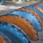 Dug into the ground tires — Stock Photo #78281578