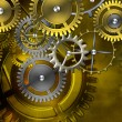 Steampunk old gear mechanism on the background of old vintage pa — Stock Photo #55380169