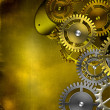 Steampunk old gear mechanism on the background of old vintage pa — Stock Photo #56086853