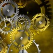 Steampunk old gear mechanism on the background of old vintage pa — Stock Photo #57803357
