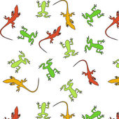 Cute funny animals frogs and lizards — Stock Vector