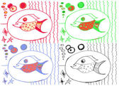 Drawing from hand of child, image of big fish — Vecteur