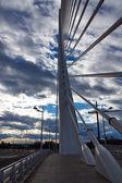 Part modern bridge Valencia on sunset sky. Spain. — Stock Photo
