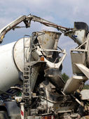 Pouring concrete mixer with pump without pump mixer  — 图库照片