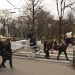 KRAKOW, POLAND - March 29, 2015: Horse carriage on the streets o — Stock Photo #68880875