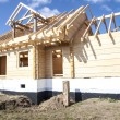 Fragment structure wooden log home — Stock Photo #70741723