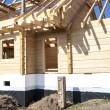 Fragment structure wooden log home — Stock Photo #70741741