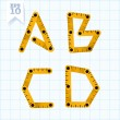 Letters A, B, C, D on a blue graph paper — 图库矢量图片