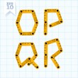 Letters O, P, Q and R on a blue graph paper — 图库矢量图片