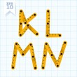Letters K, L, M, N on a blue graph paper — Stockvektor