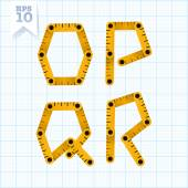 Letters O, P, Q and R on a blue graph paper — Stock Vector