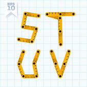 Letters S, T, U and V on a blue graph paper — Stock Vector