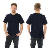 Man posing with blank dark blue shirt — Stock Photo
