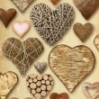 Heart shaped things on vintage paper — Stock Photo #55068123