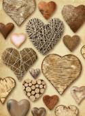Heart shaped things on vintage paper — Stok fotoğraf