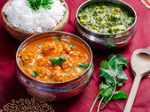 Butter chicken and Saag Paneer — Stock Photo