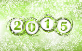 New year 2015 in green background. Clip-art — Stock Vector