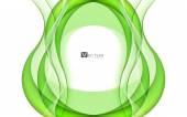 Abstract green waves - data stream concept. Vector — Stock Vector