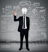 Business man writing business plan — Foto de Stock