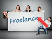 Freelance word on banner — Stock Photo